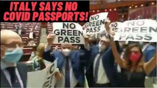 "Riot In Italian Parliament Over ""Green Pass"" Vaccine Passports!"