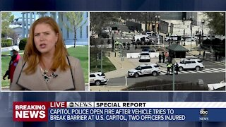 Police: 2 officers injured after vehicle rams US Capitol barrier; suspect in custody