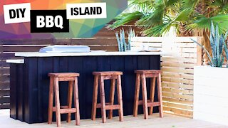 Easy DIY Outdoor Kitchen | BBQ Island and Bar | How to Build Grill Station
