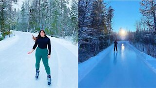 Cette patinoire à moins de 2 h de Montréal offre une belle glace lisse dans les bois