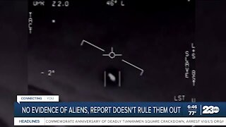 No evidence of aliens, report doesn't rule them out