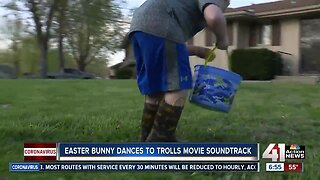 Easter bunny visiting local children