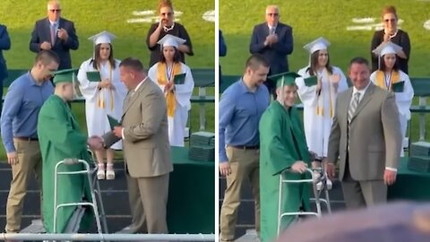 High school senior paralyzed during football game walks for his diploma