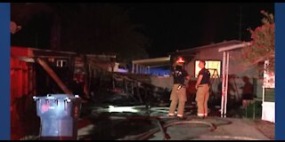 Clark County fire officials investigating overnight mobile home fire