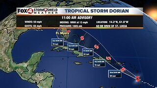 Tropical Storm Dorian expected to strengthen later in the week