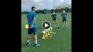 Training skills with Everton Womens team