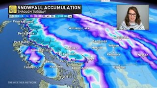 Big mountain snow accumulations for BC, messy weekend storm in Ontario