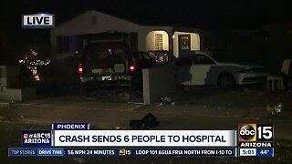 6 people hurt in Phoenix crash