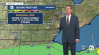 Isolated storms possible south