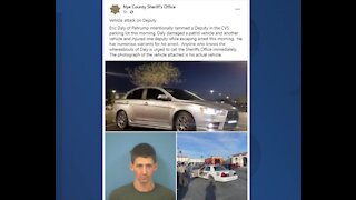 Nye County deputy injured after car rammed by suspect