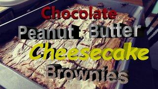 Chocolate Peanut Butter Cheesecake Brownies