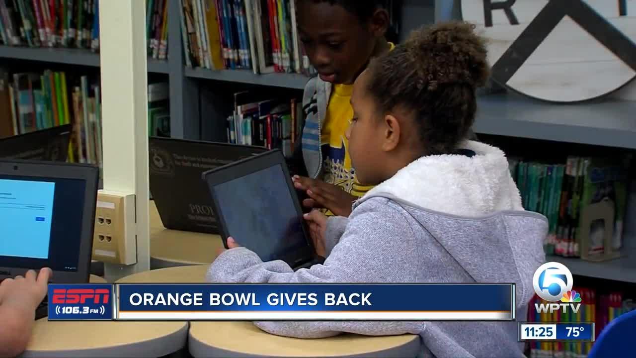 Orange Bowl gives back to Sunset Elementary 11/13