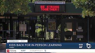 Elementary school students in Poway return to schools