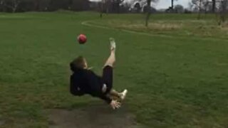 Footgolf game ends with hilarious fall