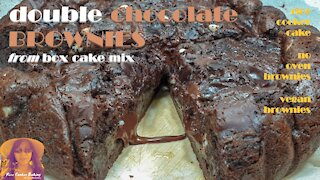 Double Chocolate Brownies from Box Cake Mix | Vegan Brownies | RICE COOKER CAKE