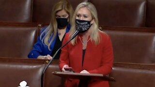 Marjorie Taylor Greene Wears Mask With SAVAGE Message To Joe Biden