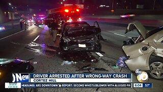 Driver arrested after wrong-way crash on I-5