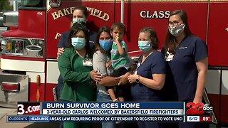 Burn survivor goes home