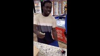 Hilarious Spider Prank on Store Customer!