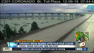 Coronado Bridge reopens after closure