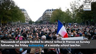 Thousands in France attend rallies Sunday following decapitation of teacher last week