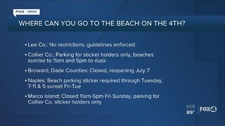 Beach restrictions for the holiday weekend