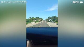 Motociclista não consegue conduzir a direito na estrada