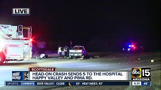 Head-on crashes sends 5 people to the hospital