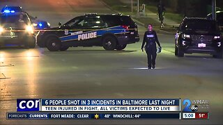 Six people shot in three incidents in Baltimore last night