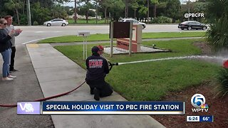 Special holiday visitor to Palm Beach County Fire Station