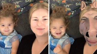 Toddler has precious reaction to 'horse face' video filter