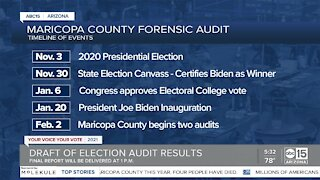 Final report of Maricopa County election audit to be delivered Friday