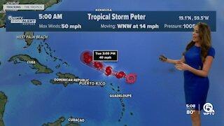 Tropical Storms Peter, Rose churn in Atlantic Ocean