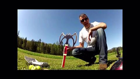 Guy breaks egg on head with dangerous battleaxe boomerang