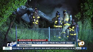 Couple tries to save driver after fiery crash