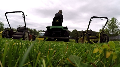 Lawnmower hack literally cuts mowing time in half