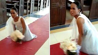 Inspiring woman ditches wheelchair, walks down aisle on wedding day