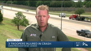 Three Oklahoma Highway Patrol troopers recovering after procession crash