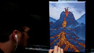 Acrylic Landscape Painting of a Volcano - Time Lapse - Artist Timothy Stanford