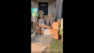 Woman Hilariously Pranks Husband With Fake Packages