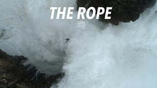 Drone Footage Of A Slackliner Over Monster Waves In Nazaré, Portugal