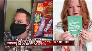 Helping Each Other: Masks, food baskets and messages