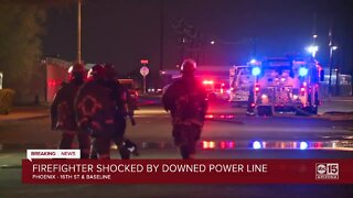 Firefighter shocked by a downed power line