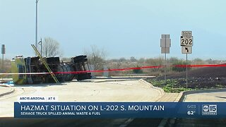 Overturned sewage truck causes HAZMAT situation in south Valley