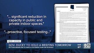Arizona Governor Doug Ducey to hold press briefing Wednesday