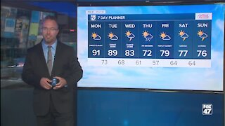 Forecast - Partly cloudy and still humid. Showers possible. Highs in the upper 80s