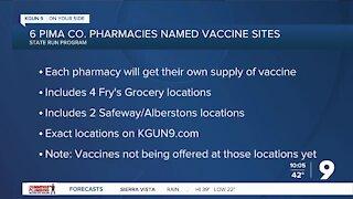 Arizona designates 6 pharmacies in Pima County as COVID-19 vaccination sites