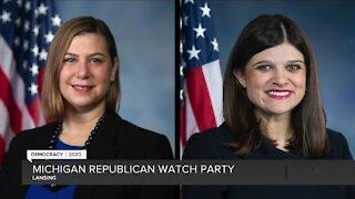 Michigan Republicans, Democrats await election results at parties across metro Detroit