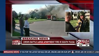 Crews battle south Tulsa apartment fire