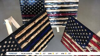 Lakewood Ranch teen carves U.S. flags to raise money for homeless veterans, celebrate medical heroes